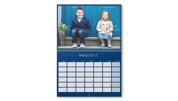 calendário de parede duplo personalizado com foto 21x30