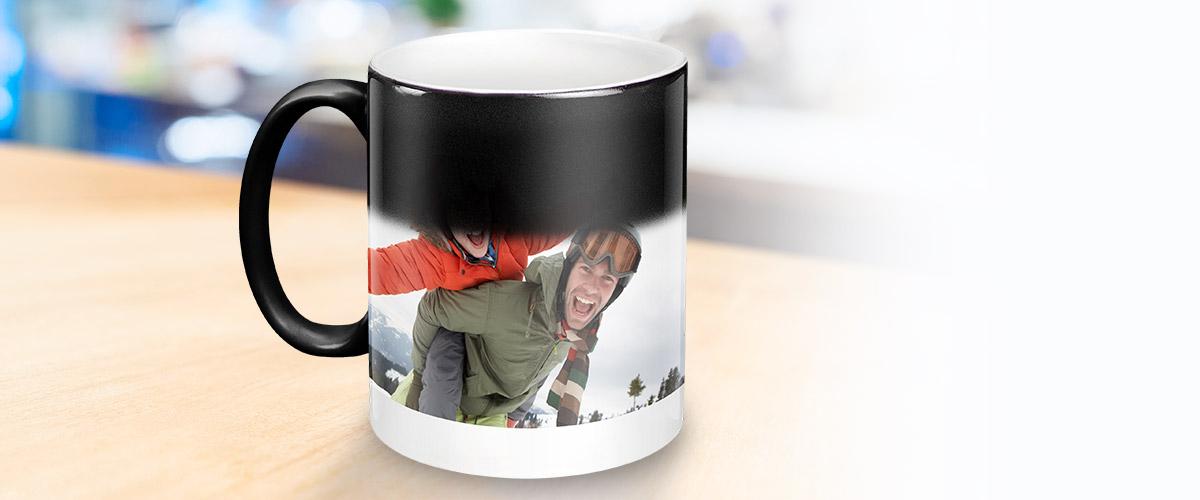 caneca mágica em cerâmica personalizada com foto