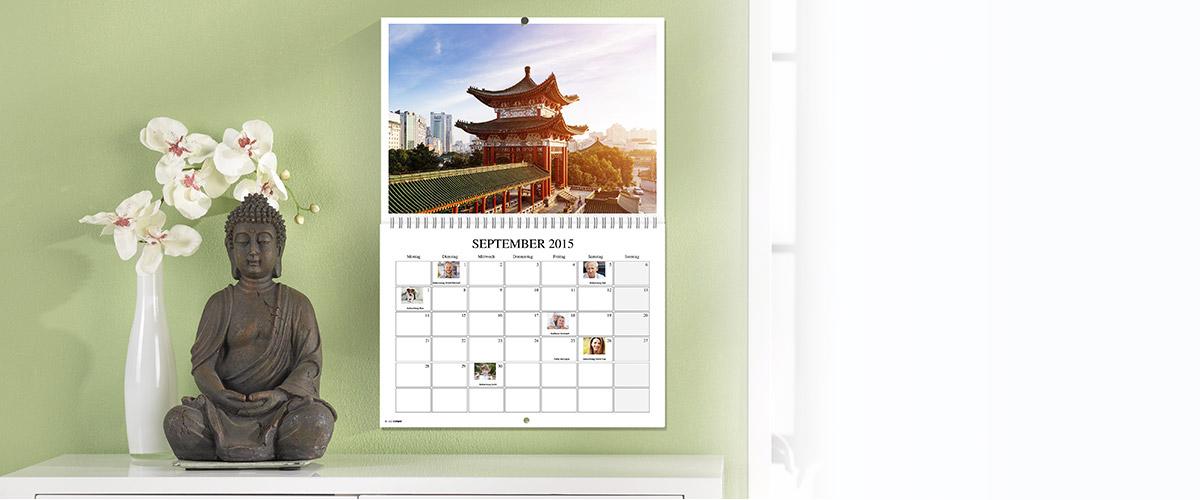 calendário de parede duplo