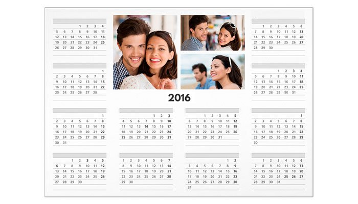 calendário de parede anual personalizado com foto 30x42